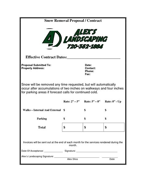 Snow Removal Invoice Invoice Template Ideas Snow Removal Template