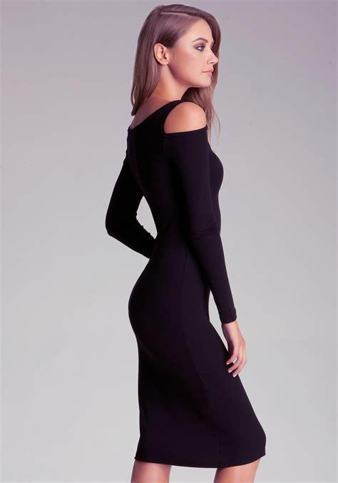 Midi Dress Shoulder Cold Prisya Dress Midi Shoulder Biru Putih Pris bebe midi cold shoulder dress in black lyst