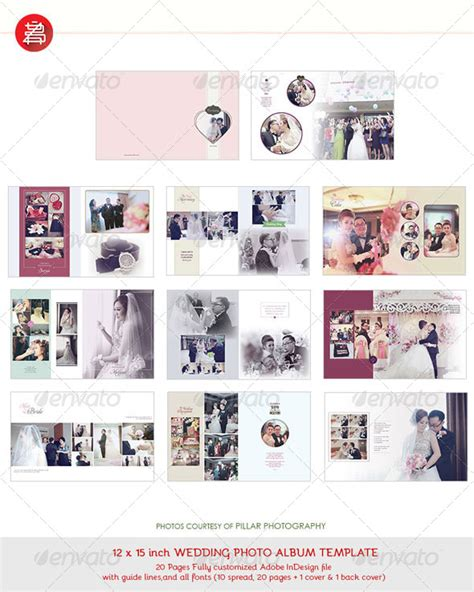 20 pages photo album template 12x15 for indesign by