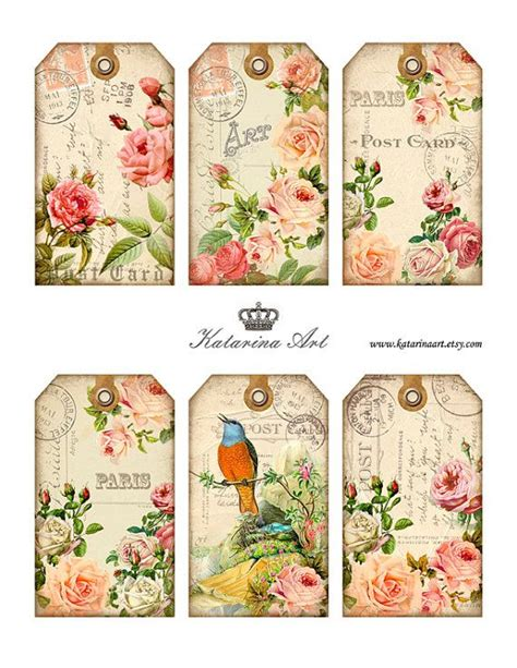 gift tags vintage clipart finders shabby roses tags digital collage sheet printable gift