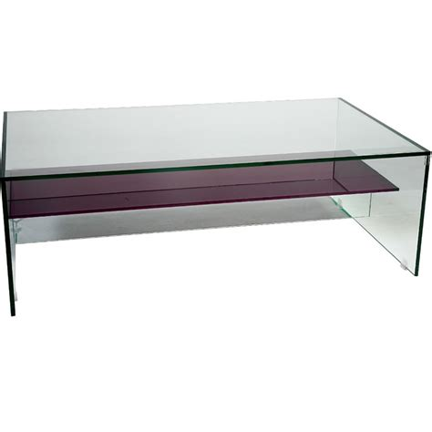 Glass Coffee Table With Shelf by Helderr Beljo Glass Coffee Table With Coloured Shelf