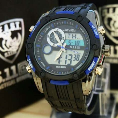 Tactical 5 11 Beast Black jam tangan 511 tactical beast dualtime rubber new