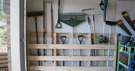 Garage Shelving From Pallets Garage Storage For Garden Tools From Pallet Hometalk