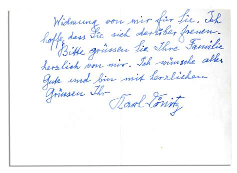 Gift Accompanying Letter Lot Detail Karl Donitz Autograph Letter Accompanying