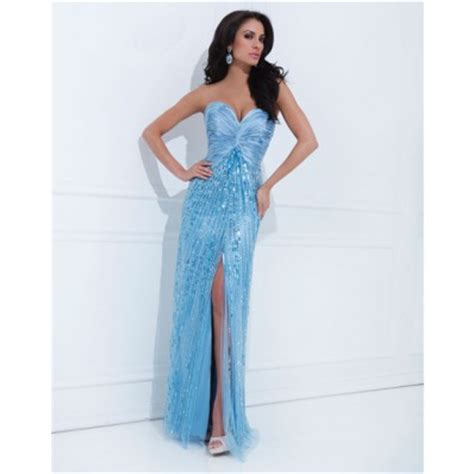 Longdress Set 2in1 Glitter Pink sheath sweetheart light blue satin tulle sequin sparkly prom dress with slit