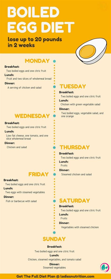 Boiled Egg Diet Printable Menu