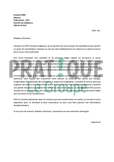 Exemple De Lettre De Motivation Transport Lettre De Motivation Pour Un Emploi De Coordinateur Transport D 233 Butant Pratique Fr