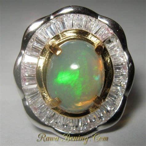 Cincin Blue Opal Pelangi Jumbo cincin wanita model bunga batu opal afrika silver 925 ring
