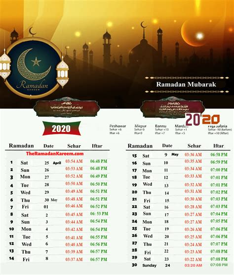 pakistan ramadan calendar timetable prayer fasting