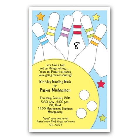 bowling birthday invitation templates invitation wording bowling invite