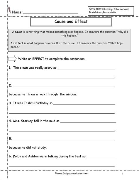 cause and effect 3rd grade worksheets them and
