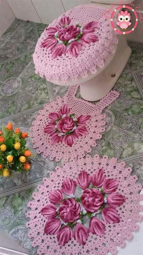 vidros decorados em croche graficos jogo de banheiro croche flores jogo de banheiro