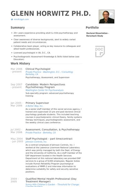 Psychology Resume Sample by Clinical Psychologist Resume Samples Visualcv Resume