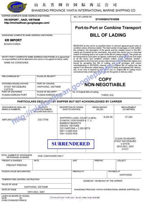 Letter Credit La Gi bill l 224 g 236 mẫu surrendered bill v 224 tại sao lại