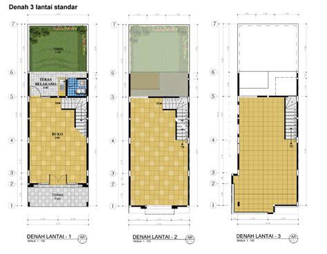 layout usaha adalah desain ruko minimalis 3 lantai sebagai tempat usaha dan hunian