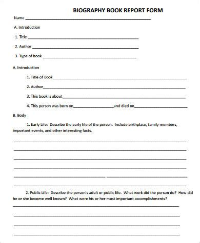 biography report form biography book report form 28 images biography book