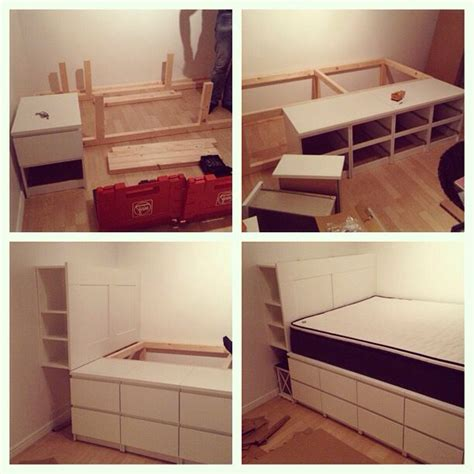malm bed hacks how to build a bed with ikea malm dressers ikea ikeahack