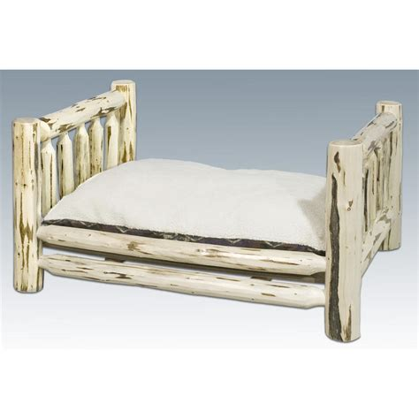 Pole Bed Frames Montana Woodworks Lodge Pole Pine Rustic Pet Bed Ready To Finish 506966 Kennels Beds