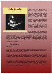 bob marley biography esl bob marley worksheet by stefemma