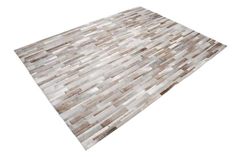Cowhide Patchwork Rug Gray Gray Beige And White Stripes Design Patchwork Cowhide Rug