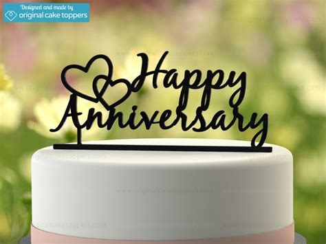 """Happy Anniversary""   Black   Wedding Anniversary Cake"
