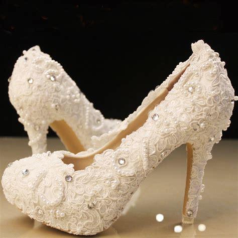 Elegant White Lace Beading High Heel Wedding Shoes