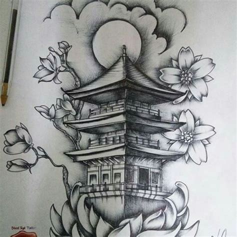 templo chino dibujo and tatoo