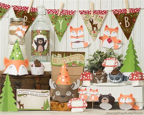 gender neutral woodland animals baby shower party supplies