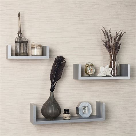 set of 3 white floating u shelves for your home interior