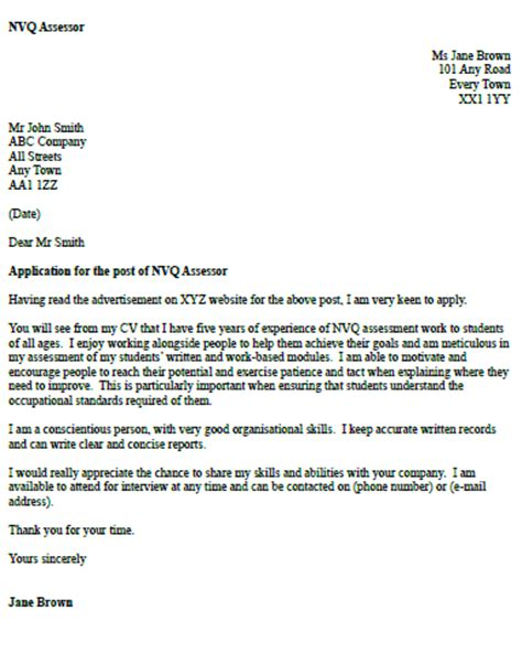Assessor Cover Letters by Nvq Assessor Cover Letter Exle Icover Org Uk