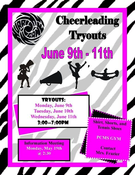 Cheerleading Tryouts Publisher Flyer Free Download And Edit Cheer Pinterest Cheerleading Cheerleading Flyer Template