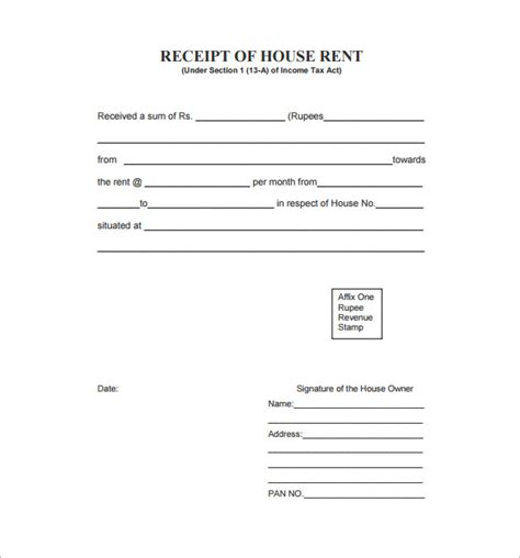 rent receipt template 9 free word excel pdf format