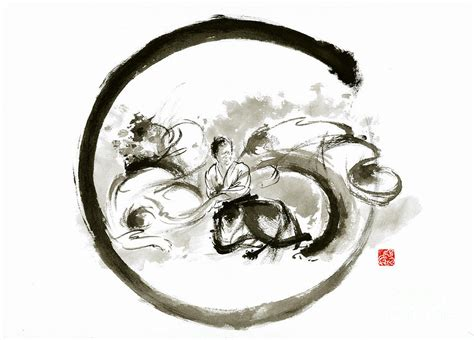aikido enso circle martial arts sumi e original ink