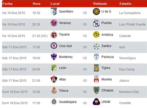 Calendario Liga Mx 2014 Chivas Jornada 17 Futbol Mexicano 2016 New Style For 2016 2017