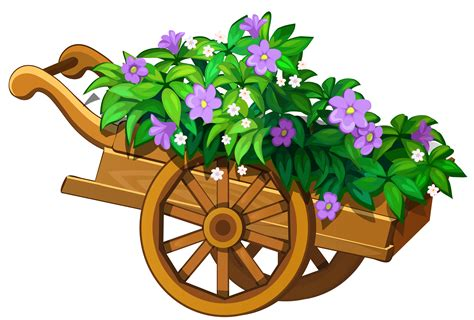 wooden garden wheelbarrow  flowers png clipart