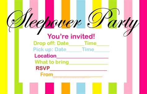 free printable sleepover invitation templates invitations for sleepover