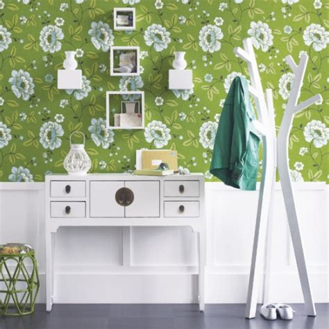 green wallpaper for feature wall thejoyofdecorating com a blog about home decor and more