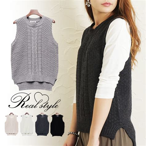 womens knit vest outletruckruck rakuten global market crochet cable