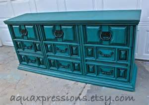 Teal Bedroom Furniture Teal Vintage Dresser Bright Buffet By Aquaxpressions