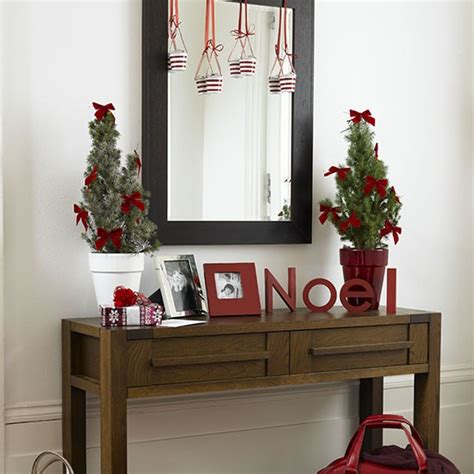 small modern hallway with red decorations christmas