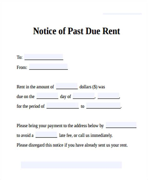 35 Notice Form Exles Past Due Rent Letter Template