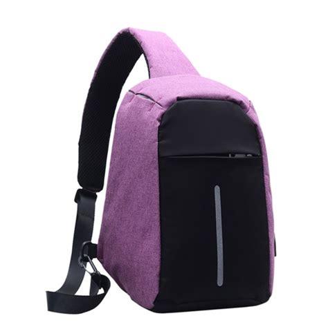 Tas Ransel Anti Maling Unisex jual b1103 purple tas slingbag anti maling unisex