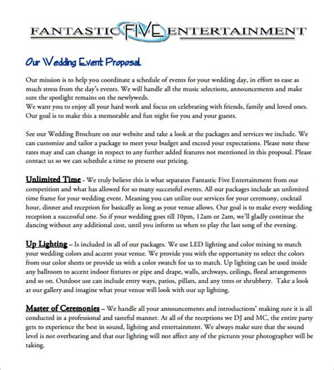 format of proposal for event event proposal template 16 free sle exle format