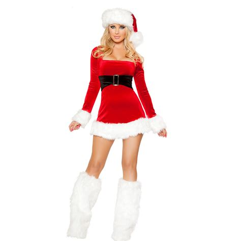real photo sexy women christmas dress costumes santa claus