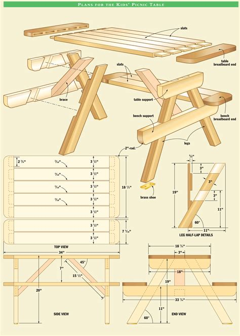 picnic bench dimensions kid s picnic table canadian home workshop