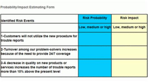 risk assessment project management template risk strategy