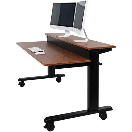 standing desk walmart luxor 2 tier 48 quot crank adjustable standing desk black