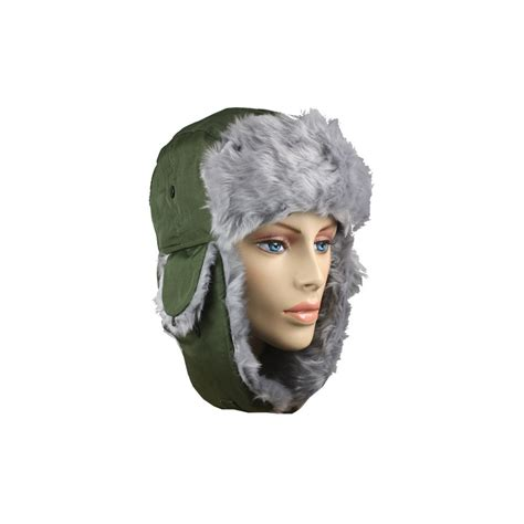 Winter Pilot Hat 36 units of green winter pilot hat with faux fur lining