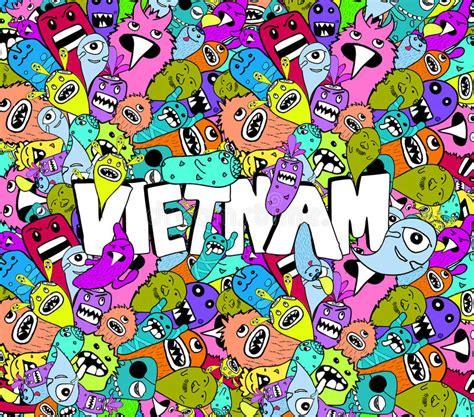 doodle viet nam doodle colorful background stock vector