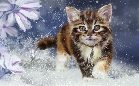 painting for cats cats painting kitten glance animals wallpaper
